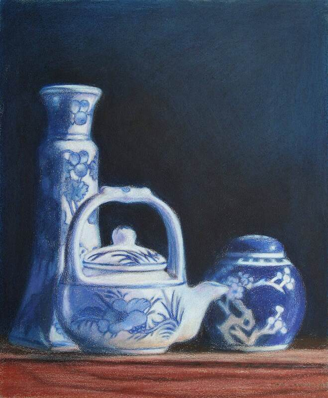 Chinese objects still-life, colour pencil