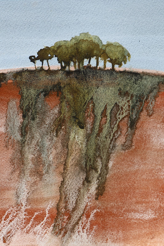Brown experimental landscape, watercolour and ink