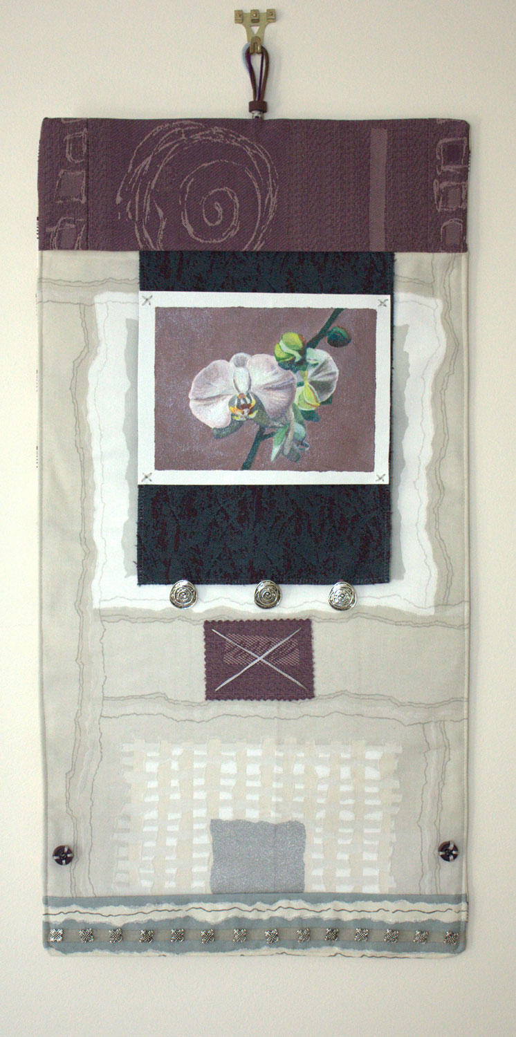 Wall hanging, textiles, painting and found objects