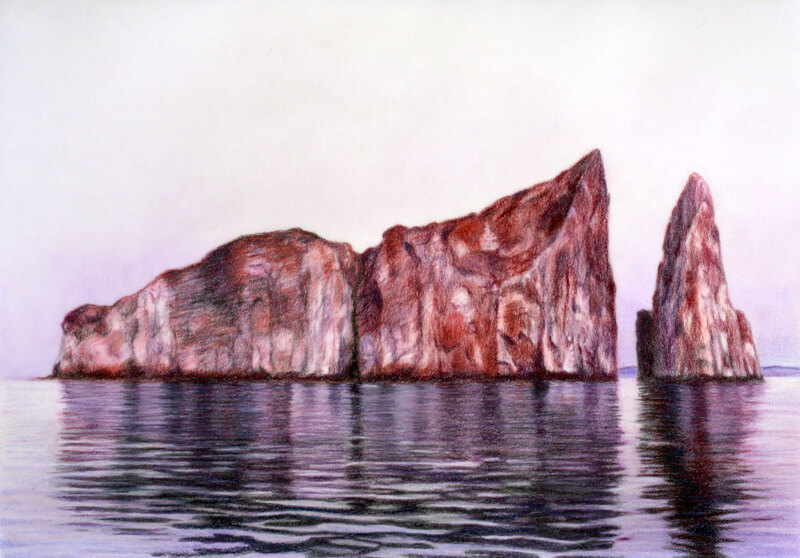 Kicker Rock drawing on drafting film, colour pencil