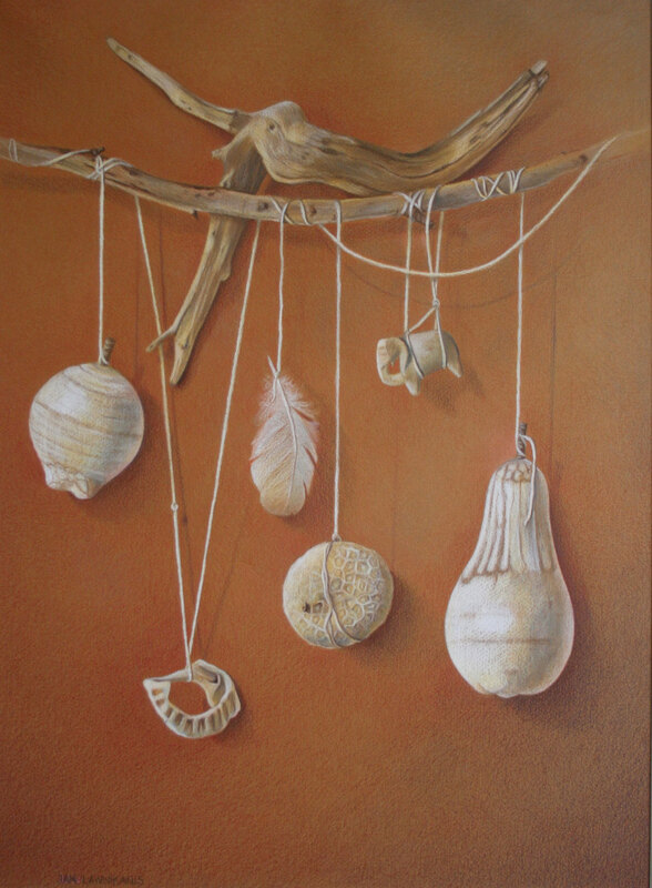 White objects, still-life, colour pencil