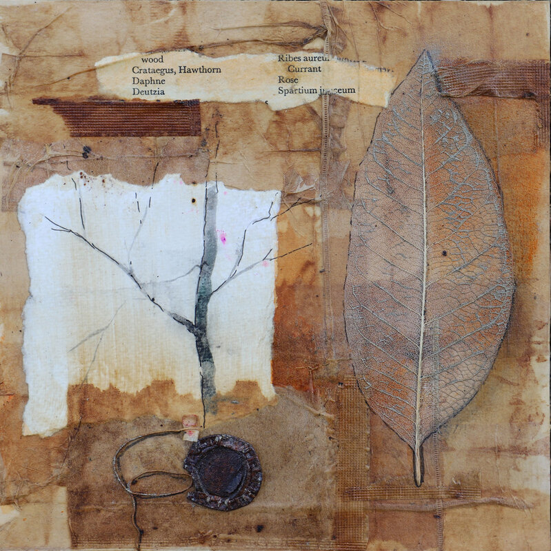 Teabag collage with found objects
