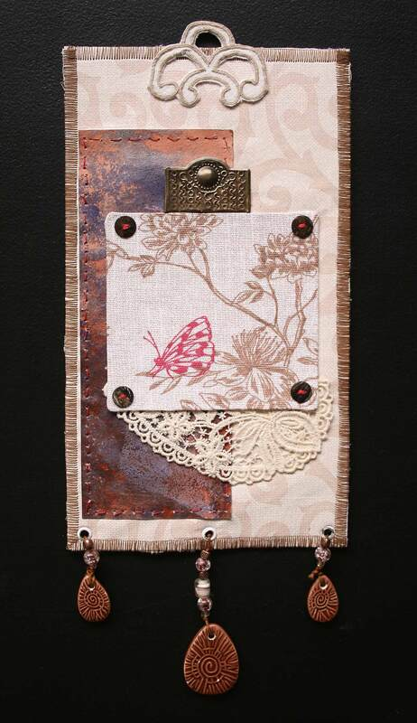 Wall hanging, textiles and found objects