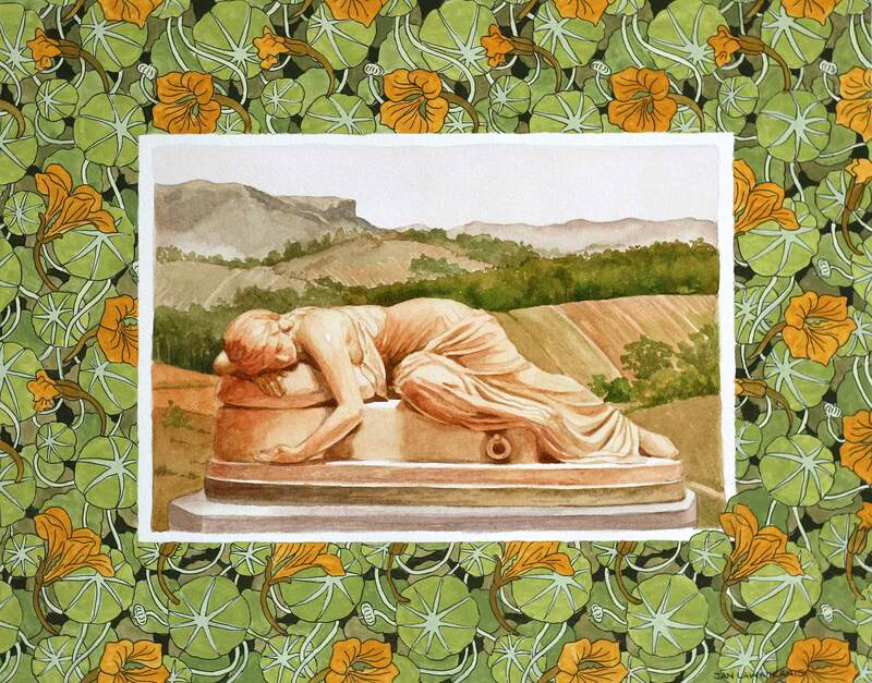 Art Nouveau pattern with marble sculpture and landscape, watercolour
