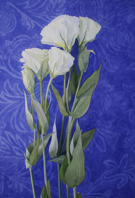 Lisianthus on blue background, watercolour