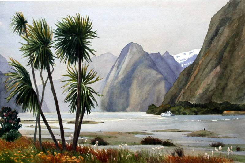 Milford Sound, New Zealand, watercolour